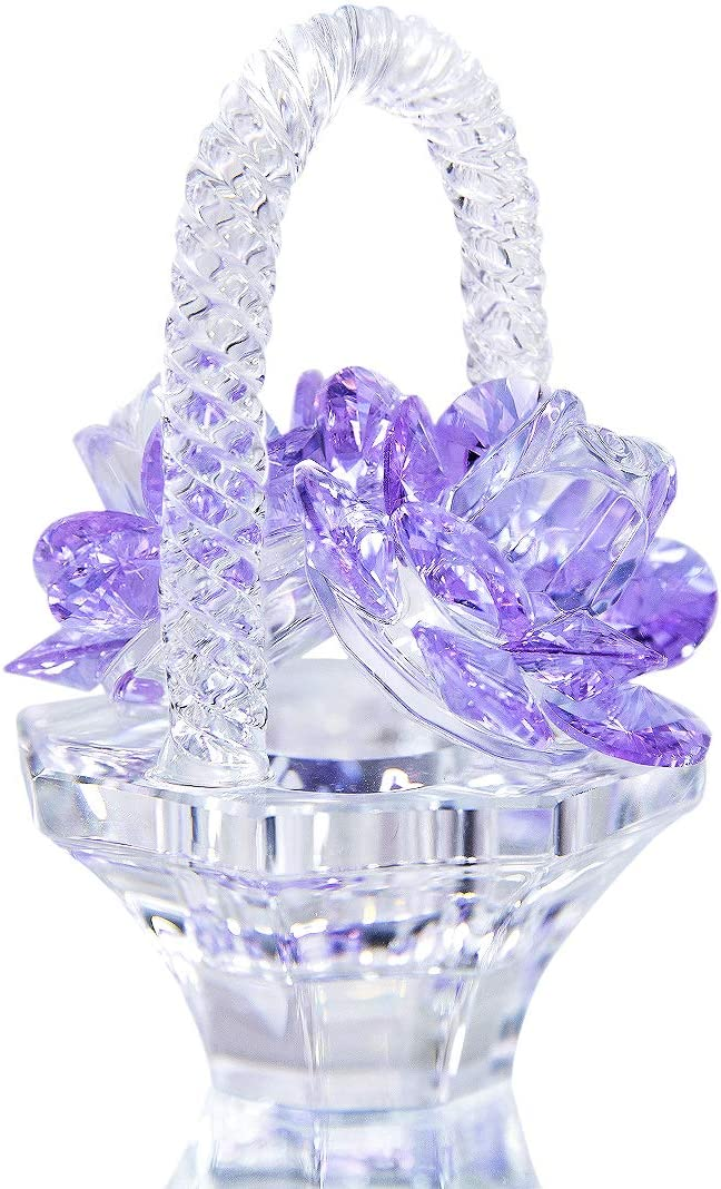 H&D HYALINE & DORA Crystal Flower Basket Figurine Collectable Ornaments Home Decor Tabletop Centerpiece Gift for Lady,Purple Color: Home & Kitchen