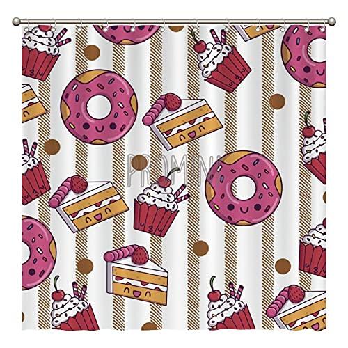 Promini Duschvorhang mit Cupcakes Donuts Muffins Sugar Tasty Yummy Badewannen-Duschvorhang, waschbar, mit Haken, 180 x 180 cm, Polyester