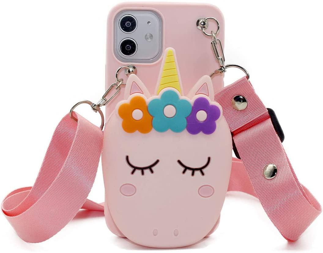 Fyant 3D Kawaii Unicorn Phone Case with Zipper Pouch Silicone Cellphone Shell with Lanyard Cute Phone Holder Shockproof Protective Cover Compatible with iPhone 12/12 Pro