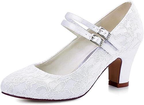 ZHRUI schuhe Formales de la Boda del cordón del talón de la Correa Doble de Las señoras (Farbe   Weiß-5cm Heel, tamaño   7.5 UK)