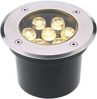 omshine 5W AC/DC 12V 埋め込み式LED スポットライト 550LMハイパワー 強化ガラス IP67防水対応  ガーデンライト 玄関先 屋外照明 遊歩道 (7W, 2800-3500K)