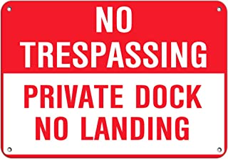 No Trespassing Private Dock No Landing Park Signs Aluminum Metal Sign 10 in x 14 in
