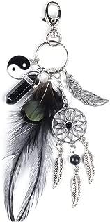 SZTARA Bohemian Yin Yang keychain Dream Catcher Feather Tassel Leaf Keyring Fashion Silver Boho Ornament Key Ring Keyfobs