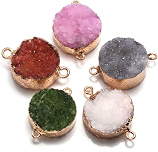 Wholesale Gold Plated Druzy Geode Gemstone Charms,Petite Round Agate Drusy Pendant Charm For Necklace or Bracelet DIY GP081406