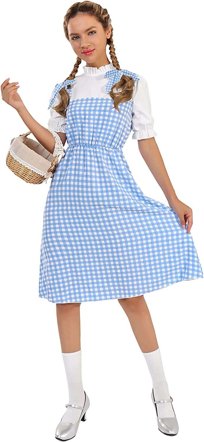 GIKING The Wizard of Oz Costume Adult Dorothy Plaid Short Sleeves White and Blue Costumes Midi Dresses