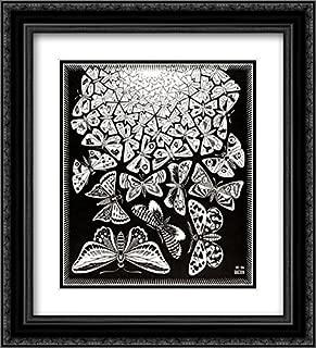 ArtDirect M.C. Escher 2X Matted 20x22 Black Ornate Framed Art Print 'Butterflies'