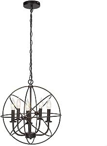 Best Choice Products Industrial Vintage Hanging 5-Light Ceiling Chandelier Fixture for Living Room, Bedroom - Bronze