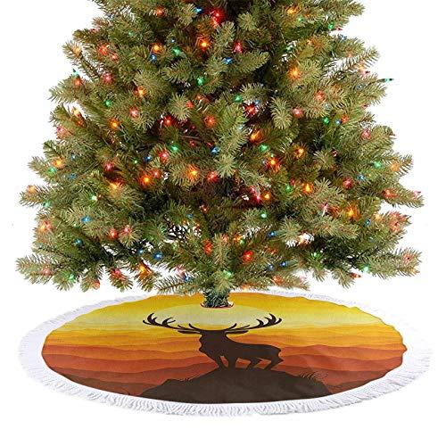 Falda grande para árbol de Navidad, ciervo al atardecer, aventura y vida silvestre panorámica, valle colina, decoración de decoración para vacaciones de Año Nuevo, caléndula quemada Sienna ámbar 92 cm