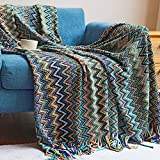 Boho Throw Blankets, Bohemian Knitted Tassel Throw Blankets, Super Soft Cozy Lightweight Couch Decorative Throw Blankets, Bed, Sofa, Outdoor Throw Blanket - All Seasons (Blue 50x60 Inch)