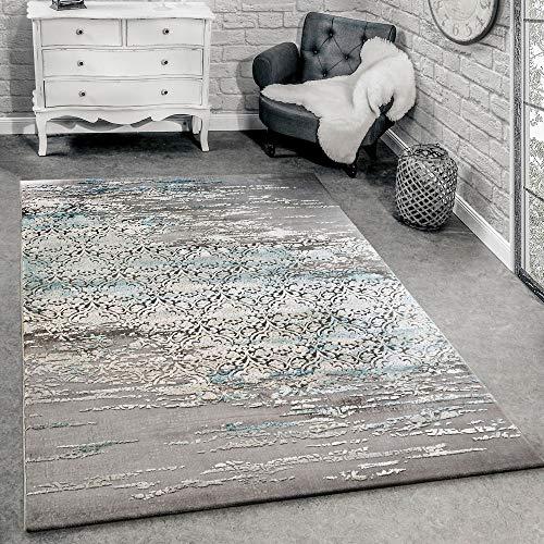 Designervloerkleed Woonkamer Moderne Ornamenten Patroon Gemêleerd Grijs/Blauw, Maat:160x230 cm