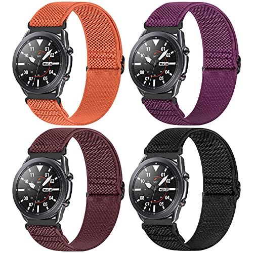 WNIPH Correa de reloj de 22 mm compatible con Samsung Galaxy Watch 3 (45 mm/44 mm)/Watch 46 mm/Gear S3 Classic/Frontier, ajustable, elástica de nailon trenzado Solo Loop Sport