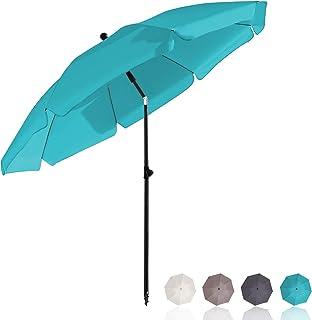 BelleMax Parasol de jardin Exterieur 217 cm, Turquoise, Rond, avec Manchon de Sol & Tige Rotative & Housse de Protection, ...