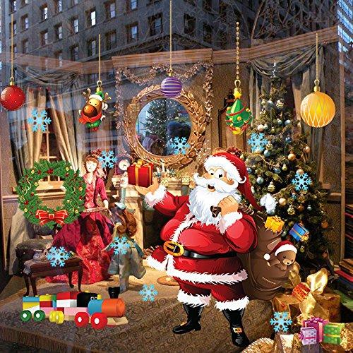 SPFOZ Haus Dekoration Frohe Weihnachten Wandaufkleber Dekoration Weihnachtsmann-Geschenk-Fenster-Wand-Aufkleber PVC-entfernbare Wand-Abziehbilder Weihnachten Neujahr Home Decor (Color : As Image)
