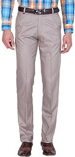 American-Elm Men's Light Brown Cotton Blend Formal Trouser