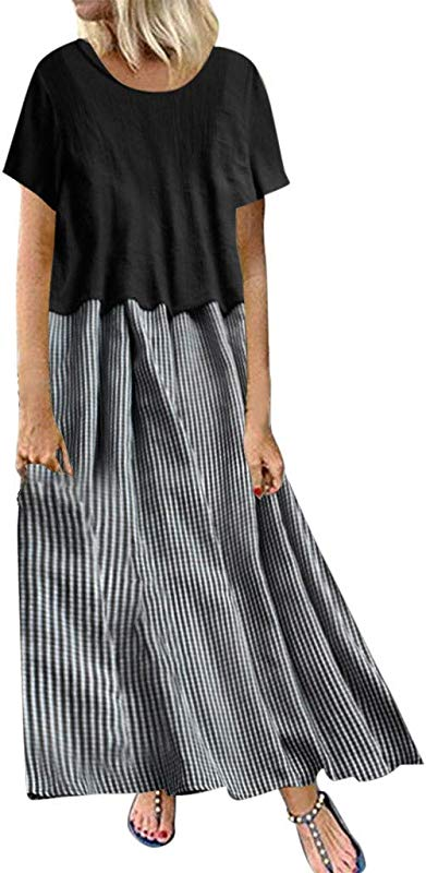 Staron Women Summer Casual Long Pleated Beach Maxi Dress Striped Vintage Casual Party Dresses