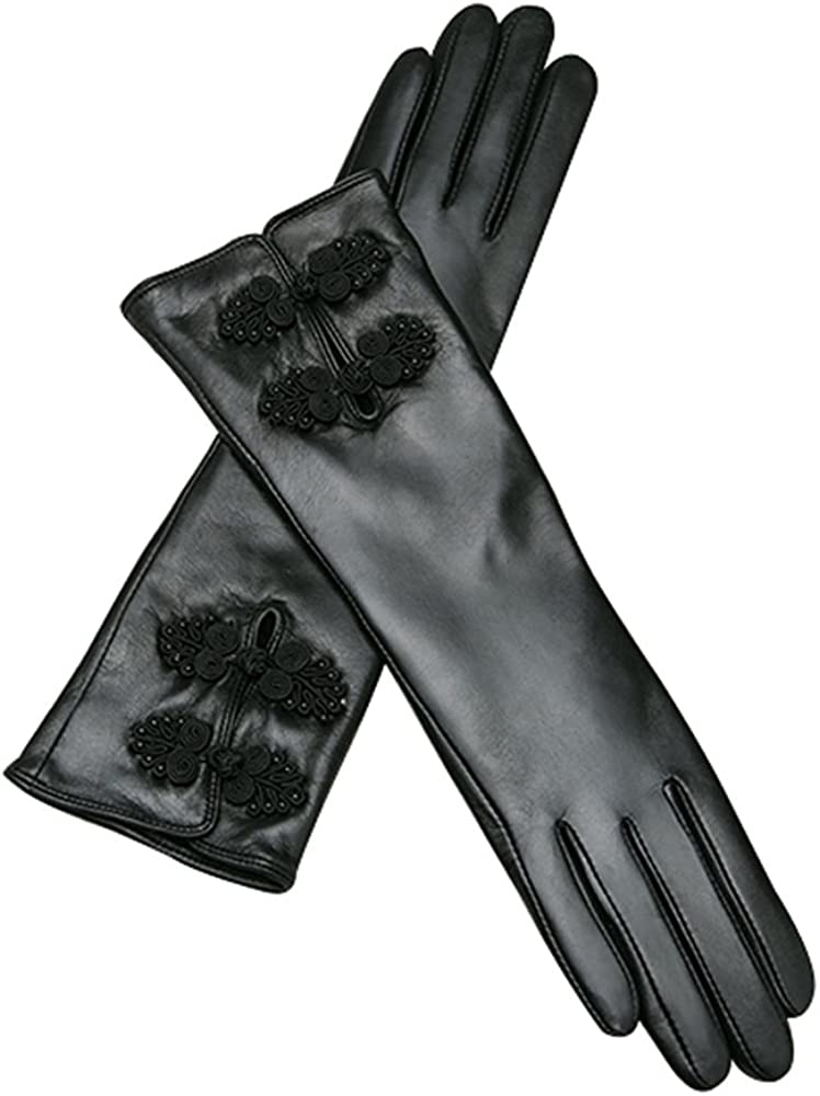 Fly Female Winter Black 35cm Long Goat Leather Gloves, Pipa Buckle (Size : M)