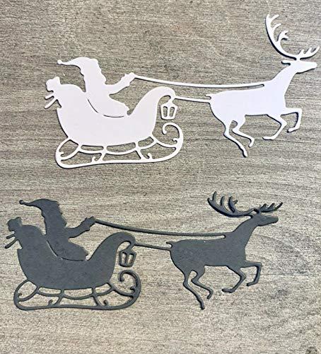 Simplelettering Stanzschablone/Cutting Dies Santas Schlitten Xmas Weihnachten, 9,5 x 5,5 cm