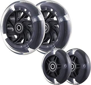 Front 120mm & Rear 80mm Light-Up Flashing 3-Wheeled Kid Scooter Replacement Wheels, Complete Wheels Set for Micro Kickboar...