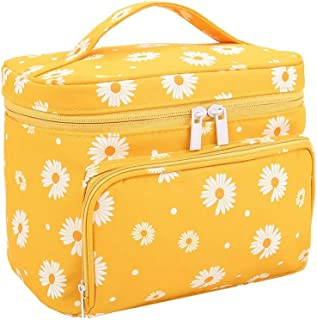 HOYOFO Travel Makeup Bag Portable Toiletry Bags Daisy Print Cosmetic Storage with Handle for Women Big Capacity Make up Po...