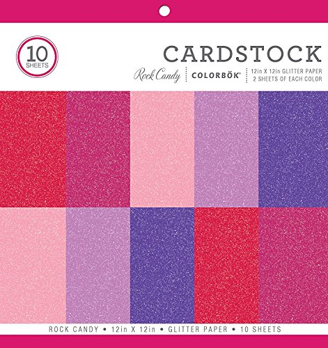 Colorbok Glitter Paper Pad, 12' x 12', Rock Candy