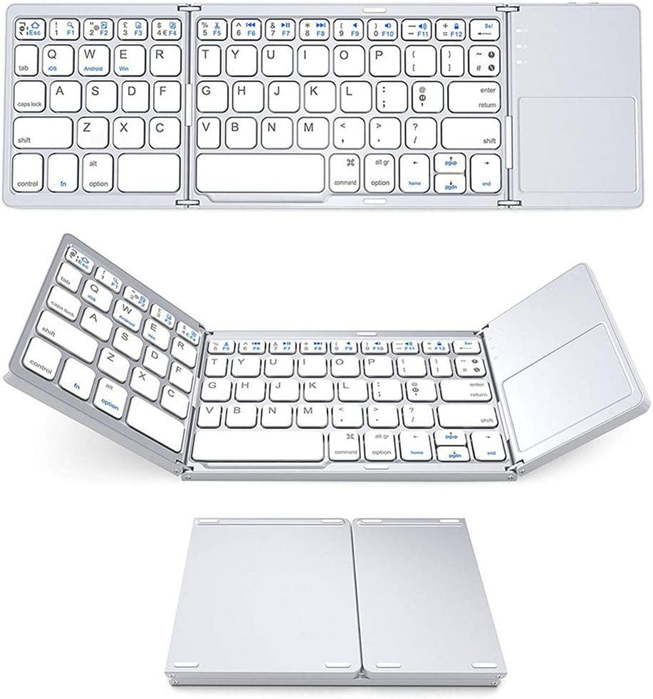 Windows Pocket Size Portable Mini BT Wireless Keyboard with Touchpad for Android Radom Foldable Bluetooth Keyboard PC Tablet with Rechargeable Li-ion Battery