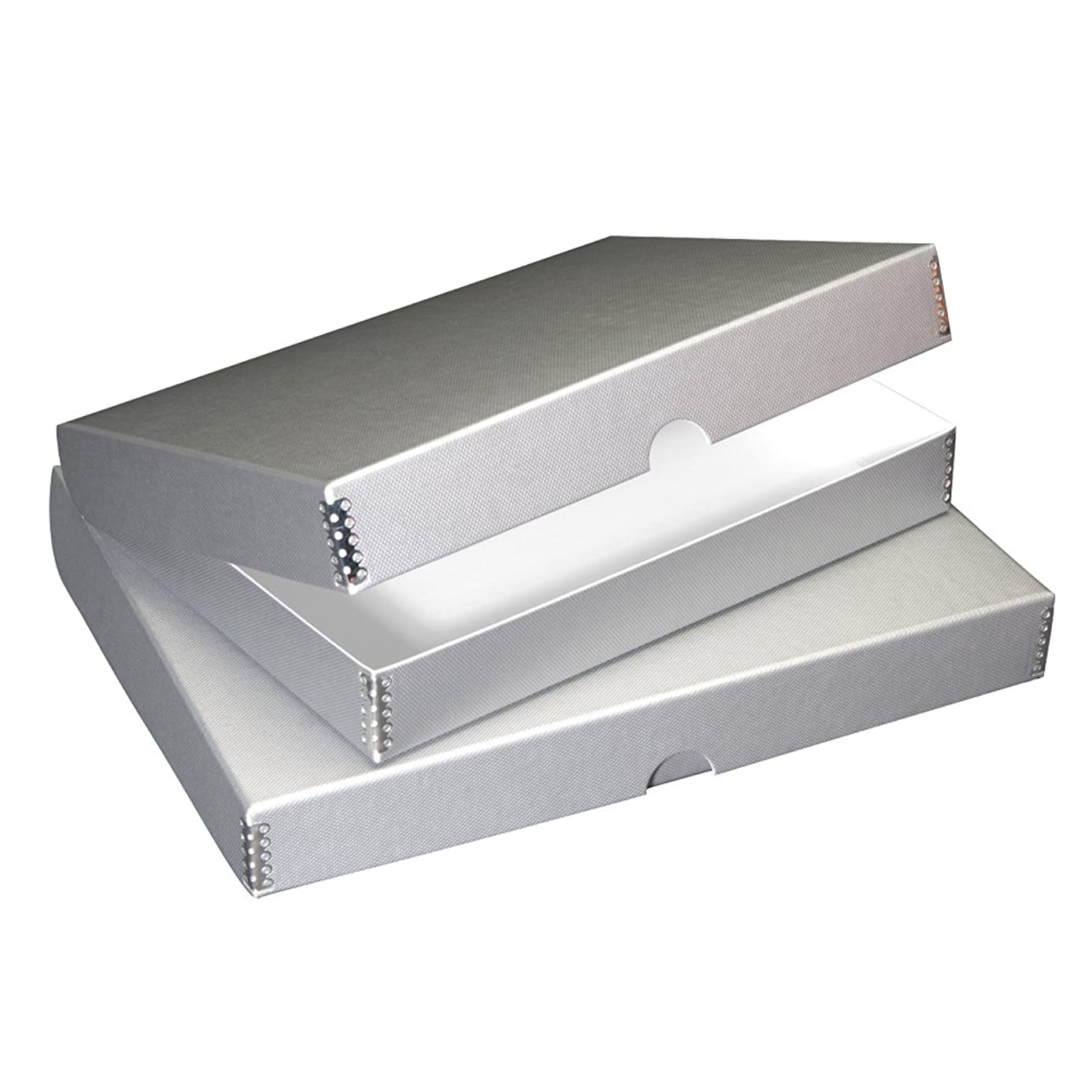 Lineco Textured Metallic Folio Storage Box, Acid-Free with Metal Edges, 11.5 X 14.5 X 1.75 inches, Silver (717-4114)