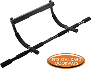 Multi-Grip Chin-Up Bar by Day 1 Fitness, Steel, with 12 Padded Grips, Holds up to 300 lbs - Premium, Heavy-Duty Doorway Pull-Up Bar to Strengthen Arms, Back, Core, Shoulders, Pro Gym Equipment