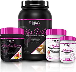 NLA For Her Pro Series Ultimate Stack Bundle - Uplift Max Preworkout, Shred Her Max, Her Amino Burner and Her Whey Protein (Uplift - Strawberry Pina Colada, Protein- Peanut Butter Banana Split)