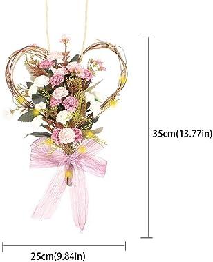 Fleur artificielle Coeur Couronne Simulation Carnation Garland Tenture avec lumière LED chaîne pour la décoration rose Home D