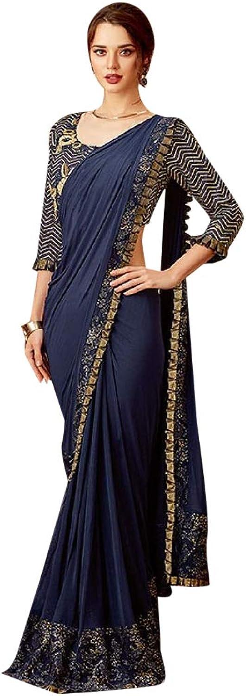 Indian Navy bluee Wrap Dress Sari Ethnic Hindu Saree Designer Blouse 7437