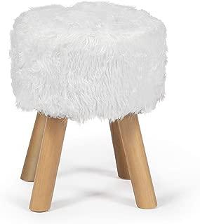 Edeco White Faux Fur Ottoman Chic Faux Furry Ottoman Small Round Ottoman Foot Stool with Wood Legs