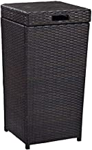 Trash can Rattan Square Outdoor Trash can Recycling bin with lid, with Holes Dark Brown for backyards patios Recycling Bin...