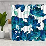 DMTTY Blue Floral Shower Curtain Spring Decor Abstract Watercolor Flower Bathroom Curtain Fabric Bathroom Accessories Polyester with Hooks