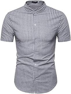 YKARITIANNA Men Casual Summer Plaid Print Button Short Sleeve Hawaiian T-Shirt Tops Blouses
