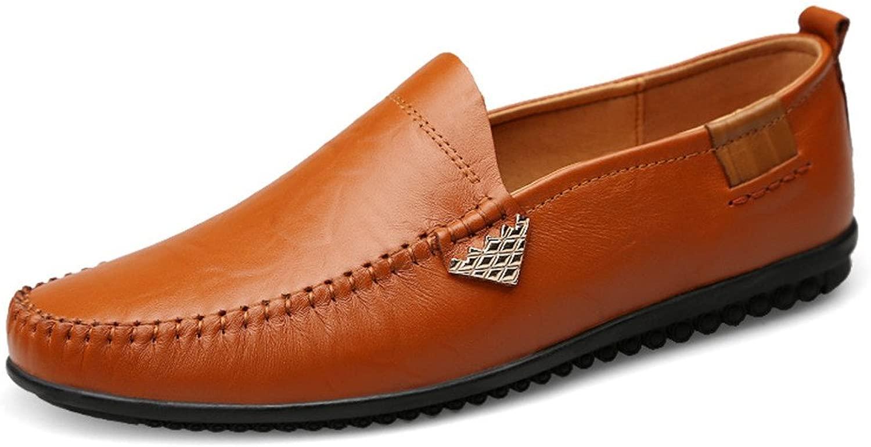 2018 Herren Mokassins Schuhe, Herren Premium Echtes Leder Casual Slip auf Loafers Breathable Driving schuhe (Farbe   Light braun, Größe   44 EU)