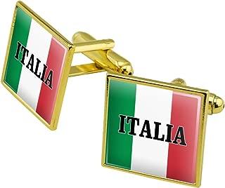 Italia Italy Italian Flag Square Cufflink Set - Silver or Gold