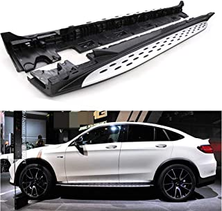 Lequer Fits for Mercedes Benz GLC Coupe 2016-2019 C253 Side Step Running Board Nerf Bar Silver