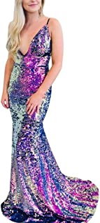 RJOAM Women's Long Sequin Sparkling Mermaid Multi-Colored Dress Party Night Evening