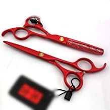 Professional Barber 5.5 Inch Red Paint, Thin Straight Handle Hairdresser Professional Hairdressing Set Scissors (Color : Red)