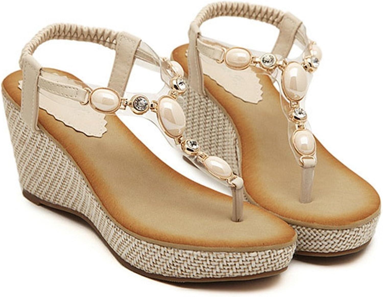 AVENBER Beaded Wedge Sandals for Women Bohemian Elements Mid Heel Platform Flats for Ladies Summer Dressy Wear