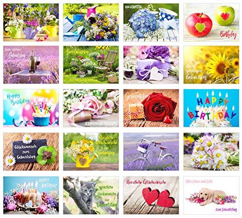 Edition Seidel Set 20 exklusive Premium Geburtstagskarten mit Umschlag. Glückwunschkarte Grusskarte zum Geburtstag. Geburtstagskarte Mann Frau Karten Billet Happy Birthday Sprüche