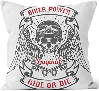 Racer Skull with Wings and Two Crossed Pistons Biker Power Ride or die Design Element for Poster Throw Pillow Cushion Cover,HD Printing Decorative Square Accent Pillow Case,36