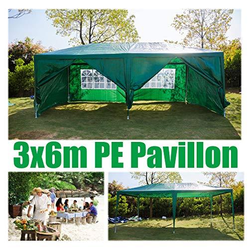 Huini 3x6m Gartenpavillon Festzelt mit Seitenwänden Voll wasserdicht für Hochzeit im Freien Event Camping BBQ Mehrzweck-Pavillon Markise Einfache Installation 6 Seiten Wand Grün
