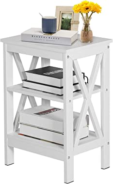 VECELO Modern Nightstands,Side/End/Coffee/Accent Table Storage Shelf X-Design Versatile Night Stand for Living Room Bedroom F