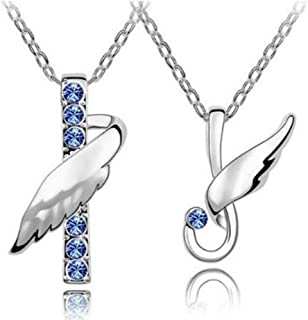 Fashion Fly Angle Blue Crystal Couple Necklace (SET OF 2, Men & Women)