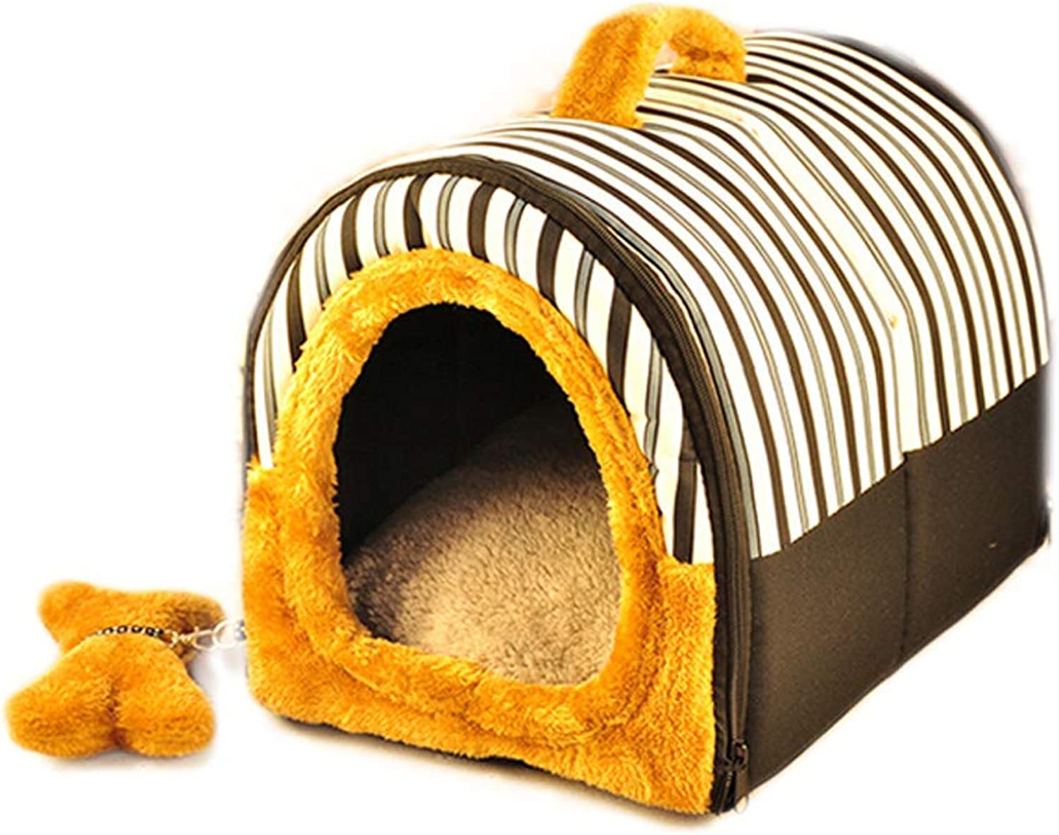 Black Striped House Type Pet Nest Four Seasons Universal Removable And Washable Small And Medium Resilience Cotton Dog Cat Litter Bed To Keep Warm MUMUJIN (Size   S(4 kg of pets))