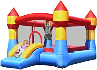 Costzon Inflatable Bounce House, Castle Jumper Playhouse w/Mesh Walls, Slide, Kids Party Jump Bouncer, Indoor Outdoor Use,...