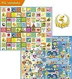 GLOBOLANDIA 92715 Tappeto Bambini Ultra Spessore Ideale per Il Gattonamento 180x150x2 Double Face ( Lettere/Numeri ) - Novita'