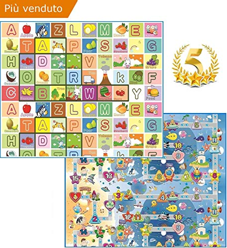 GLOBOLANDIA SRL 92715 Tappeto Bambini ultra morbino, 180x150x2 cm, Doppia faccia (Lettere/Numeri)