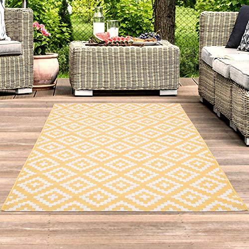 carpet city Outdoor-Teppich Wetterfest Balkon Terrasse Modern Geometrisches Muster in Gelb; Größe: 80x150 cm